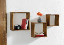 "3er HOLZ-REGAL "" Cube"" braun HÄNGEREGAL WANDREGAL BÜCHERREGAL HOLZREGAL"