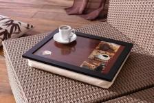KNIE-TABLETT Kaffee 43 x 33 x 7 cm KNIETISCH MIT KISSEN LAPTOPTISCH BETTTABLETT