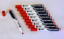 10 NOBO FLIPCHART & WHITEBOARD MARKER STIFTE rot mit KEILSPITZE NEU
