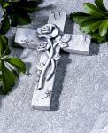 GRABSCHMUCK Kreuz mit Rosen GRABKREUZ GRABDEKO GARTEN GRAB DEKO