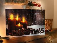 LED BILD ?Christmas? LEINWANDBILD mit BELEUCHTUNG WEIHNACHTEN FLACKERND NEU