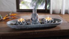 """ASIA DEKO """" Zen Garten"""" SCHALE mit BUDDHA FIGUR + BLÜTEN + KERZEN MINI FENG SHUI"""