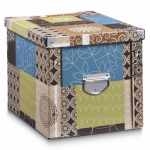 ZELLER AUFBEWAHRUNGSBOX PATCHWORK mit DECKEL 27, 5x36x26, 5 KISTE BOX REGAL KORB