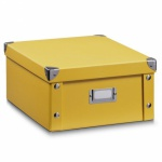 ZELLER AUFBEWAHRUNGSBOX mit DECKEL mango faltbar PAPPE NEU REGALKORB BOX