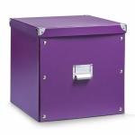 ZELLER AUFBEWAHRUNGSBOX mit DECKEL aus PAPPE lila NEU ORDNUNGSBOX REGALKORB BOX