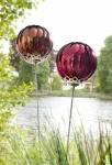 2er ROSENKUGEL METALL GLAS GARTENSTECKER GARTENKUGEL ROSENKUGELN DEKO GARTENDEKO
