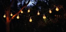 LED LICHTERKETTE ?Glühbirne? 280cm 10 warme LED's warmweiß AUSSEN BELEUCHTUNG