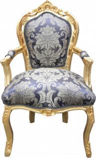 casa padrino barock esszimmer stuhl royalblau muster gold mit armlehnen m bel kaufen bei. Black Bedroom Furniture Sets. Home Design Ideas