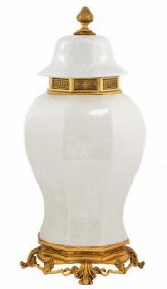 Casa Padrino Luxus Barock Keramik Vase Weiß / Gold - Grand Decor V2 - Hotel Dekoration