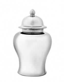 Casa Padrino Luxus Keramik Vase mit Deckel Silber Durchmesser 40 x H. 67 cm - Luxus Qualität