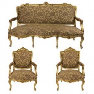 Casa Padrino Barock Wohnzimmer Set Strassbourg Gold Muster / Antik Stil Gold - Sofa + 2 Sessel