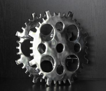 Casa Padrino Designer Weinregal aus poliertem Aluminium für 4 Flaschen Rund H 40 cm, B 40 cm, T 14 cm - Flaschenhalter - Flaschenablage Gear Copper
