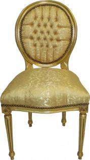 Casa Padrino Barock Esszimmer Stuhl Gold Muster / Gold Mod2 Rund