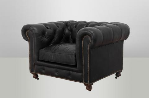 Chesterfield Luxus Echt Leder Sessel Vintage Leder von Casa Padrino Old Saddle Black - Club Sessel