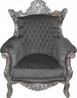 "Casa Padrino Barock Sessel "" Al Capone"" Mod2 Grau / Silber - Antik Stil"