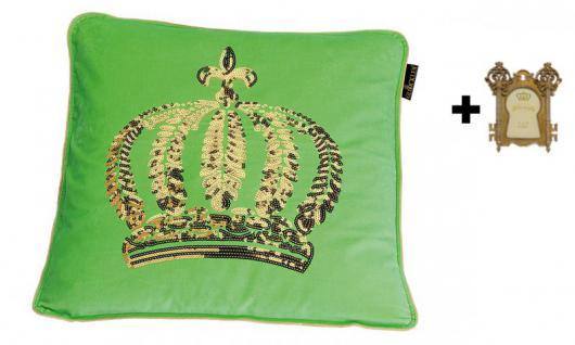 Harald Glööckler Designer Zierkissen 50 x 50 cm Krone mit Pailletten Grün/Gold + Casa Padrino Bilderrahmen - Kissen Wohnzimmer Dekokissen