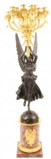 Casa Padrino Luxus Barock Empire Kerzenständer 12-Flammig - Bronze Figur auf Marmorsockel