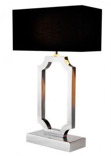 Casa Padrino Luxus Tischleuchte Edelstahl vernickelt / Lampenschirm Schwarz - Leuchte - Luxury Collection