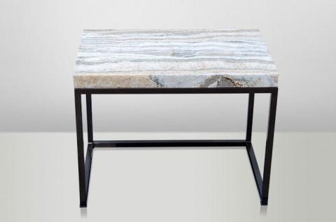 Casa Padrino Art Deco Beistelltisch Onyx / Metall 60 x 40 cm- Jugendstil Tisch - Möbel Konsole