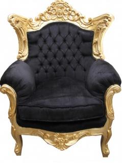 "Casa Padrino Barock Sessel "" Al Capone"" Mod 2 Schwarz / Gold Möbel Antik Stil"