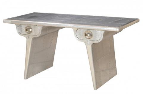 Casa Padrino Luxus Designer Schreibtisch Aluminium B 150 cm, T 75 cm - Art Deco Vintage Möbel