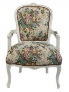 Casa Padrino Barock Salon Stuhl Blumen Muster/ Antik Weiß - Antik Design Möbel