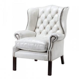 Luxus Echtleder Ohrensessel Chesterfield Vintage Weiß - Sessel mit echtem Leder
