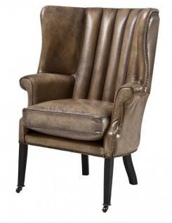 Luxus Echtleder Ohrensessel Elegance Chesterfield Vintage Olive - Sessel mit echtem Leder