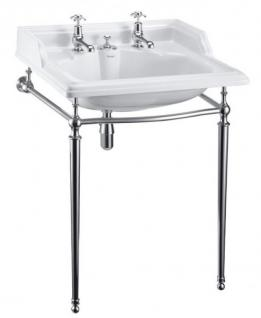 Casa Padrino Art Deco Stand Waschtisch Weiß / Chrom mit 2 Hahnlöchern - Jugendstil Waschbecken Barock Antik Stil