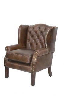Luxus Echtleder Chesterfield Ohrensessel Dunkelbraun 72 x 65 x H. 103 cm - Hotel Möbel - Leder Ohren Sessel