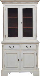 Casa Padrino Vintage Buffetschrank Antik Stil Weiss / Holzfarben H 219 x B 104 cm - Vitrine Regal Schrank Shabby Chic