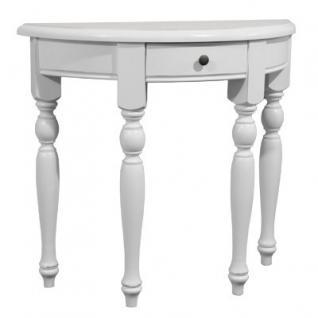 Casa Padrino Konsolentisch mit Schubladen Weiß - Halbmond Tisch - Sekretär Konsole - Telefontisch
