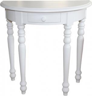 Casa Padrino Konsolentisch mit Schubladen Weiß Mod1 - Halbmond Tisch - Sekretär Konsole - Telefontisch