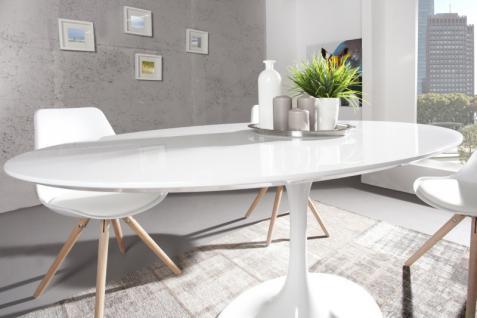 Moderner Yacht Design Esstisch Weiß Hochglanz 160 cm Oval von Casa Padrino - Esszimmer Tisch