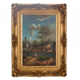 Handgemaltes Barock Öl Gemälde Landschaft Gold Prunk Rahmen 130 x 100 x 10 cm - Massives Material