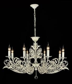 Casa Padrino Barock Kristall Decken Kronleuchter Weiß Gold 92 x H 58 cm Antik Stil - Möbel Lüster Leuchter Hängeleuchte Hängelampe