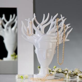 Designer Schmuckhalterbaum weiß aus Polyresin, Höhe 34, 5 cm, Breite 27, 95 cm - Schmuckständer, Schmuckbaum