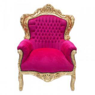 """Barock Sessel """" King"""" Pink / Gold Möbel Antik Stil"""