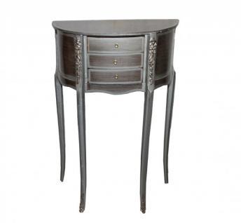 Casa Padrino Barock Kommode mit 3 Schubladen Silber/ Braun H 79 cm, B 52 cm - Antik Stil - Nachttisch Konsole 1 B Ware