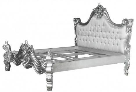 barock bett barocco wei satinstoff silber mit bling. Black Bedroom Furniture Sets. Home Design Ideas
