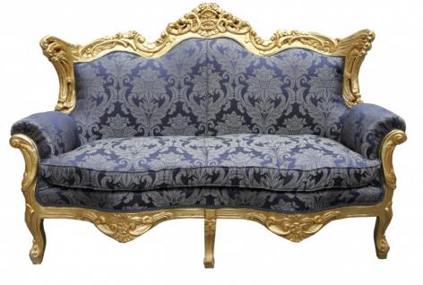 Casa Padrino Barock 2er Sofa Master Royal Blau Muster / Gold 2Mod - Wohnzimmer Couch Möbel Lounge