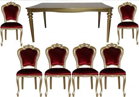 Casa Padrino Barock Luxus Esszimmer Set Bordeaux/Gold - Esstisch + 6 Stühle - Möbel Antik Stil - Luxus Qualität - Limited Edition