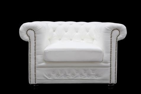 Chesterfield Sessel Weiss aus dem Hause Casa Padrino - Wohnzimmer Möbel Sessel