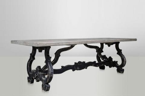 Casa Padrino Barock Teak Esstisch Rustic Grey / Antik Schwarz 240 x 104 cm - Landhaus Stil Tisch Teakholz