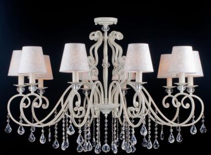 Casa Padrino Barock Kristall Decken Kronleuchter Weiß Gold 92 x H 73 cm Antik Stil - Möbel Lüster Leuchter Hängeleuchte Hängelampe
