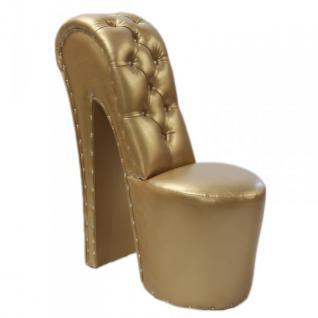 Moderner und sehr eleganter High Heel Sessel mit Dekosteinen Gold Luxus Design - Designer Sessel - Club Möbel