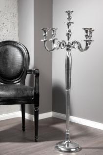 Casa Padrino Designer Kerzenhalter aus poliertem Aluminium Silber Shine Classic 5-armig Höhe 120 cm - Kerzenständer