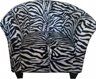 Casa Padrino Designer Chesterfield Sessel Zebra Club Möbel - Schwarz Weiß Afrika Design
