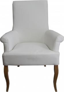Casa Padrino Esszimmer Stuhl Weiß Kunstleder / Holzfarben mit Armlehnen - Barock Möbel