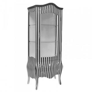 Casa padrino barock vitrine in schwarz wei streifen vitrinenschrank wohnzimmerschrank - Wohnzimmerschrank schwarz ...